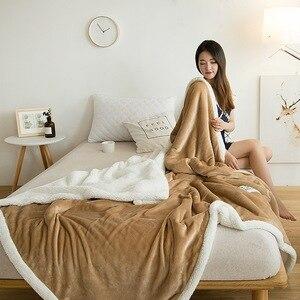 Image 3 - Couverture Raschel Super douce, polaire épaisse, en peluche, corail Double face, chaud pour lit, rose, café, gris