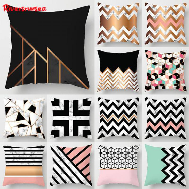 Scandinavian Style Geometric Pillow Nordic Decoration Black And White Marble Cushion Creative Sofa Throw Pillows For Home Chair