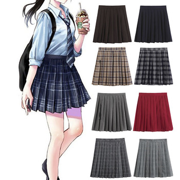 Women Pleated Skirt Harajuku Preppy Style Plaid Skirts Sweet Cute Ladies Girls Skirt Summer Casual A-line Sailor Pleat Skirts shein girls black solid button up belted casual girls skirts kids clothing 2019 spring fashion a line preppy long flared skirts