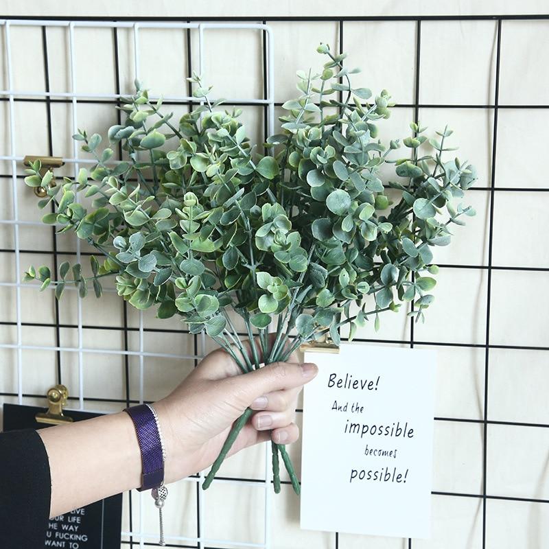 Artificial Flowers Eucalyptus Artificial Plants Faux Plastic Hand Bouquet For Wedding Home Decoration Fake Plant Wall Artificial Plants    - AliExpress