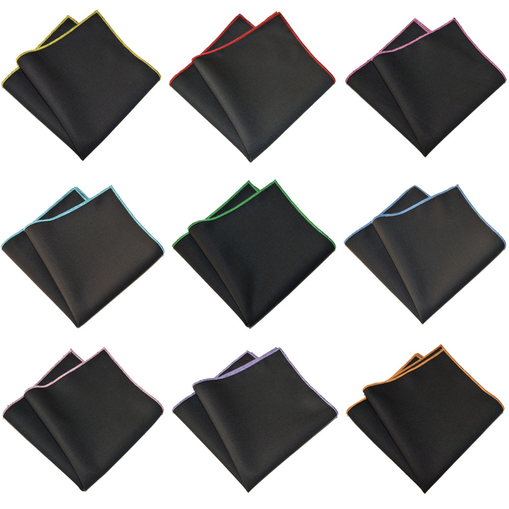 Men Colorful Black Handkerchief Party Wedding Pocket Square Cotton Hanky YXTIE0326
