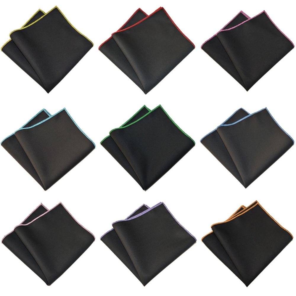 Men Colorful Black Handkerchief Party Wedding Pocket Square Cotton Hanky YXTIE0326