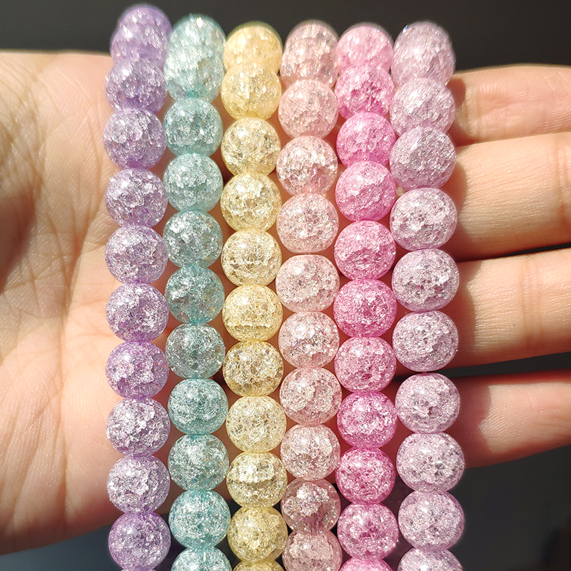 White Snow Cracked Crystal Beads 6/8/10mm Multicolor Round Loose Quartz Crystal Beads for Jewelry Making DIY Bracelet 15inch