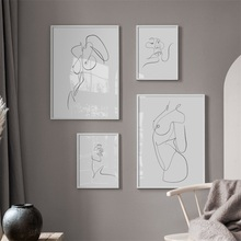 Abstract nude kiss Line Body Art Prints Nordic Posters And Prints Wall Art Canvas Painting Wall Pictures For Living Room Decor подгузники omutsu s 4 8 кг 84 шт