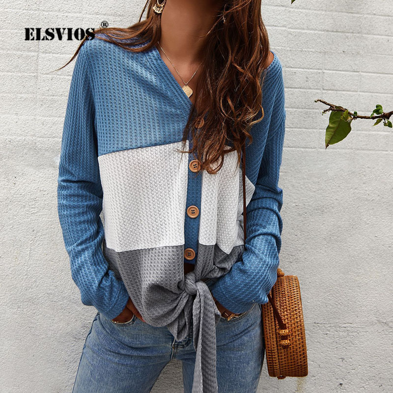 ELSVIOS 2019 Ladies V-neck Button Knitted   Shirt   Women   Blouses   Long Sleeve Patchwork Autumn Tops Casual Lace-up Streetwear Blusas