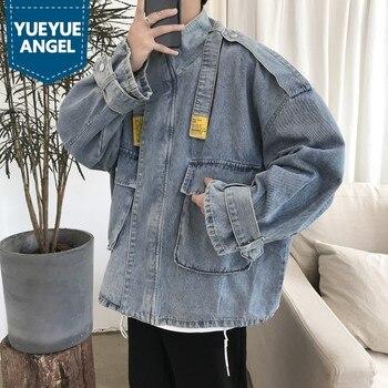 Autumn Denim Jacket Men Japan Style Stand Collar Work Cowboy Coat College Casual Pocket Loose Blue Outerwear Male M-2XL