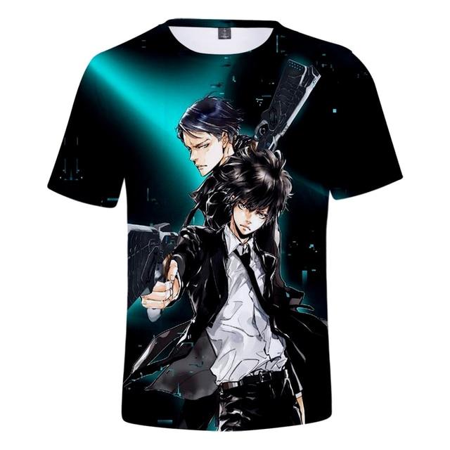 2019 Psycho-Pass t shirt Harajuku streetwear harajuku Short Sleeve Kpop pop Tees Plus Size Psycho-Pass tshirt streetwear for men