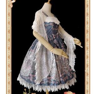 Image 5 - Uroczy biały Lolita koronkowy szal długie damskie szale od Infanta
