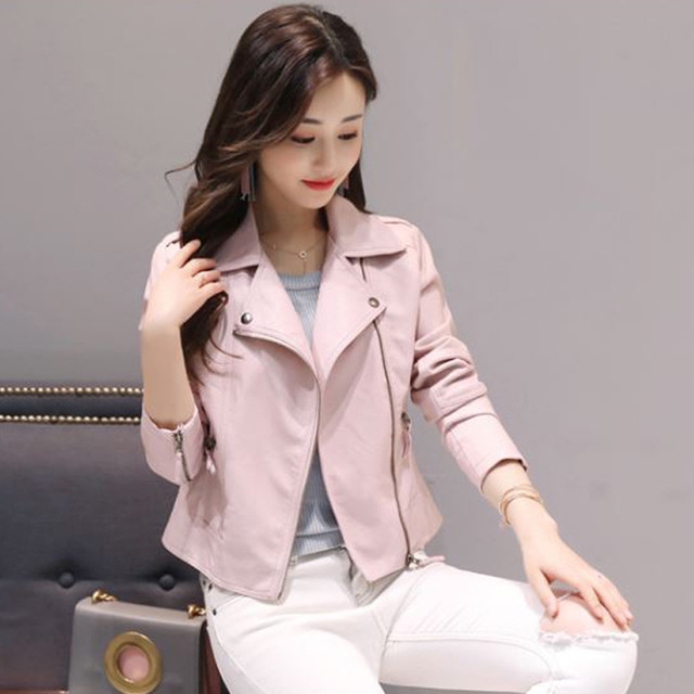 Leather   clothing women short garb Korean version of the slim pink pu coat motorcycle   leather   jacket large size ladies coat