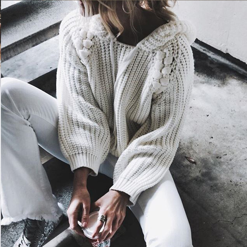 ALLNeon Hooded Women Pullovers Hollow out Bead Hat Lace up Sleeve White Sweaters Winter New Fashion Ladies Jumpers Streetwear in Pullovers from Women 39 s Clothing