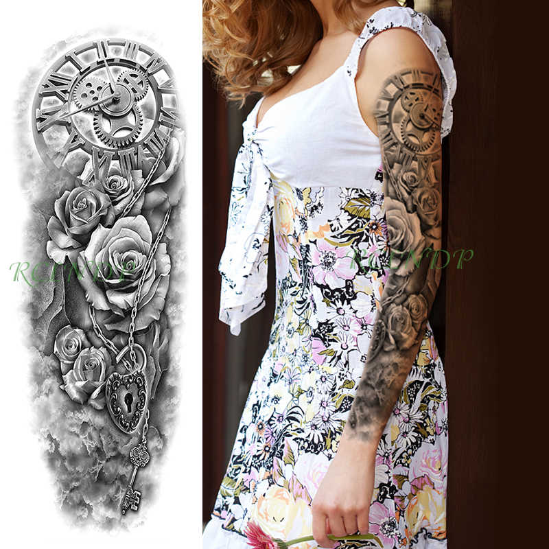 Waterproof Temporary Tattoo Sticker roma clock rose Love lock necklace key full arm fake tatto flash sleeve tatoo for men women
