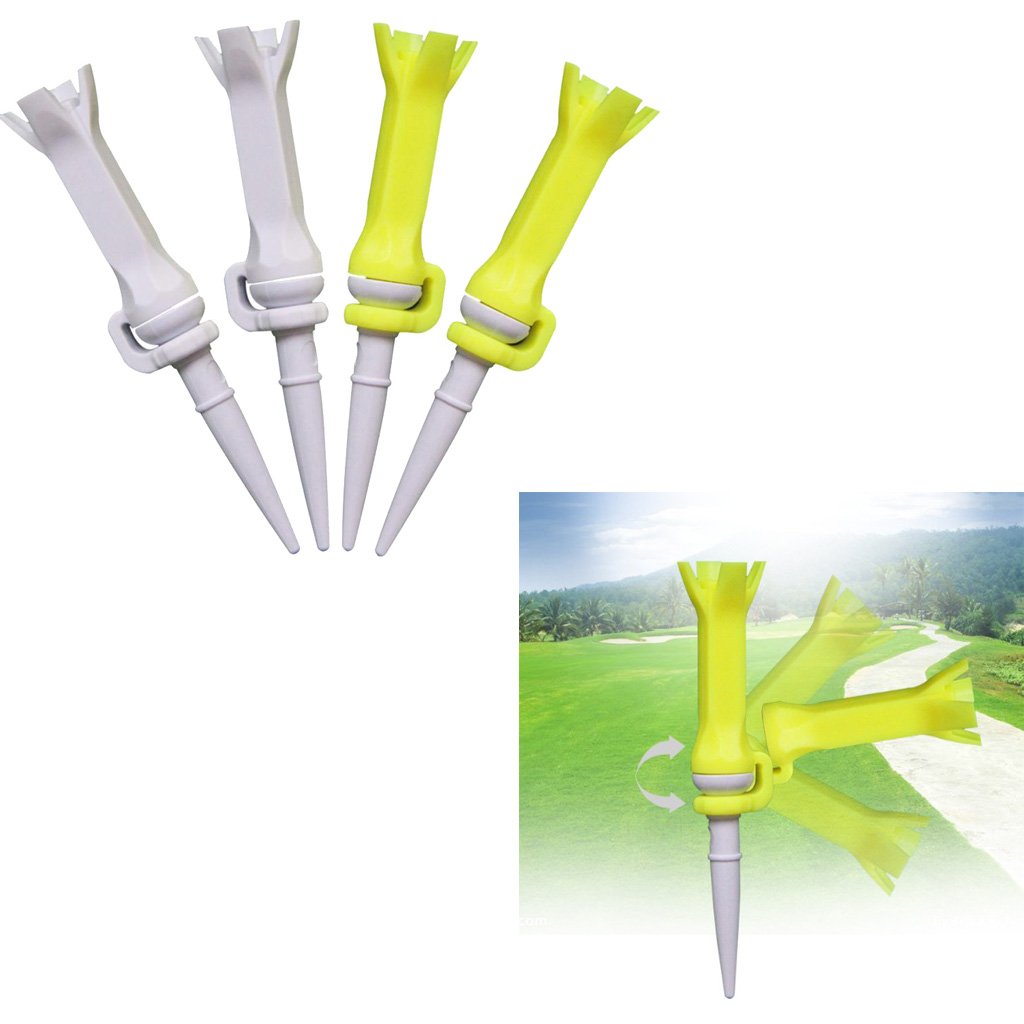 Lot 4 Flexible Golf Tees 76mm/3 Inch, Performance Low Resistance Golf Tees - Sturdy & Long Lasting