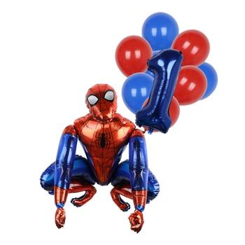 1set 3D Big Spider Supper Hero Man Mylar Foil Balloon Number Foil Balloons Birthday Party Decoration Supplies Children's Gifts 15