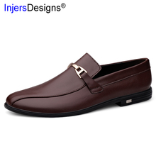 High Quality Genuine Leather Casual Men Shoes Soft Comfortable Driving Shoes Men Slip-On Loafers Fashion Business Shoes Big Size cheap INJERSDESIGNS Cow Leather Rubber 11807 men casual leather shoes Fits true to size take your normal size Solid Adult Breathable