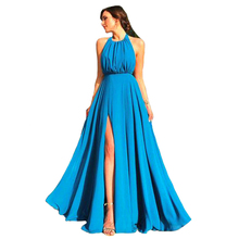 Real Rill Halter Side Slit Evening Dress Chiffon Lace Up Back Floor Length Long Prom Backless Formal