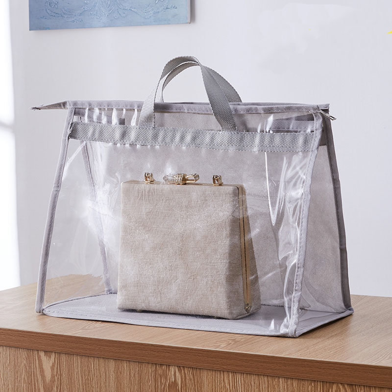 New PVC Transparent Handbag Dustproof Pocket Portable Handbags Clear Protection Pocket Large Capacity Bag Packing Organizer