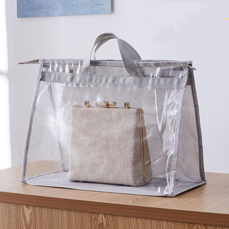 New PVC Transparent Handbag Dustproof Pocket Portable Handbags Clear Protection Pocket Large Capacity Bag Packing Organizer