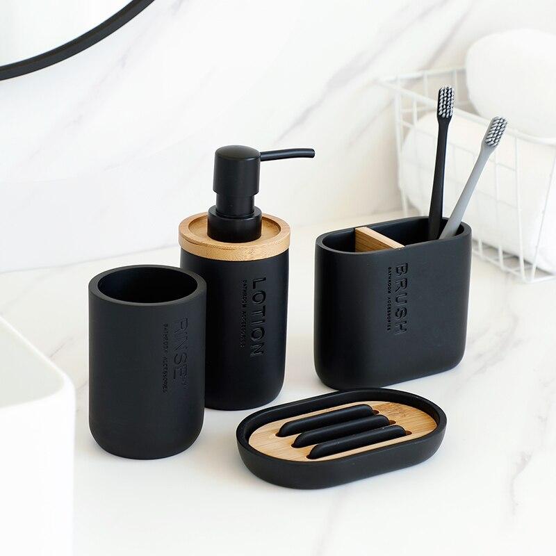4 Uds Set de accesorios de baño de lavado herramientas cepillo de dientes pasta de dientes titulares de dispensador de jabón líquido caja de la botella de la bomba Set de lavado