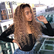 Wigirl Curly Wig 13x6 Lace Front Human Hair Wigs 1b/27 Remy Brazilian Pre plucked For Black Women(China)