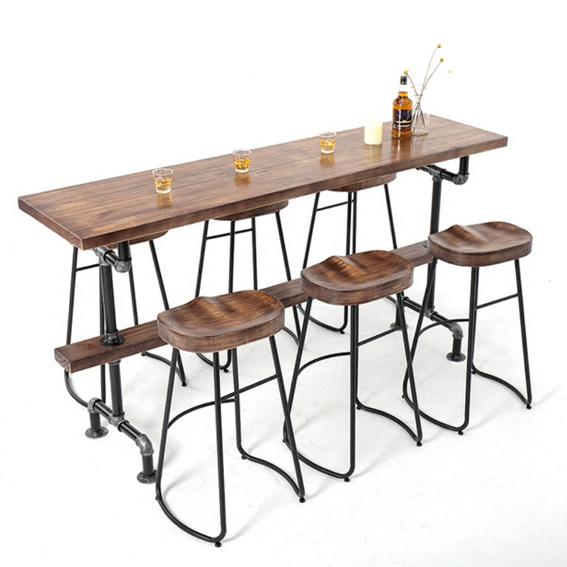 High Table Nordic Solid Wood Against The Wall Simple Bar Table and Chair Combination Home Balcony Personalized Bar Table