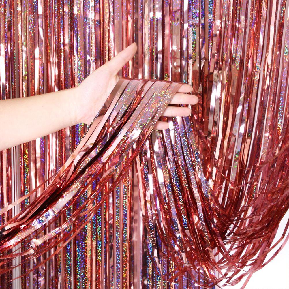 1*2M folia metalowa Fringe Shimmer tło wesele dekoracje ścienne Photo Booth tło brokat Glitter zasłony złote