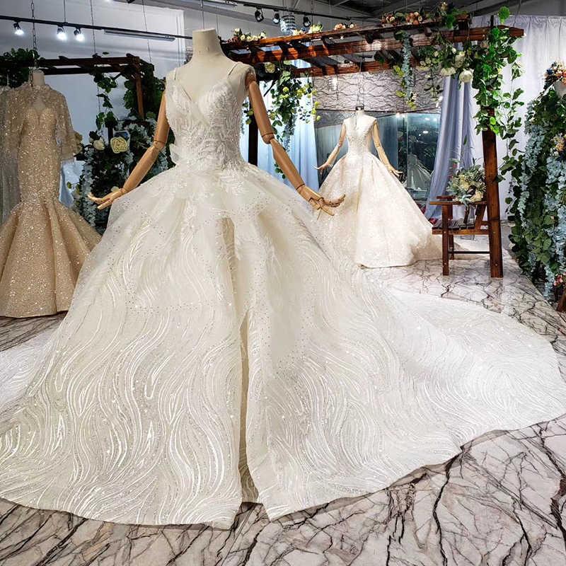 HTL665 יוקרה חתונה שמלת קתדרלת רכבת ספגטי רצועות קפל ראפלס אפליקציות צנועות חתונת שמלת vestidos דה novia 2019