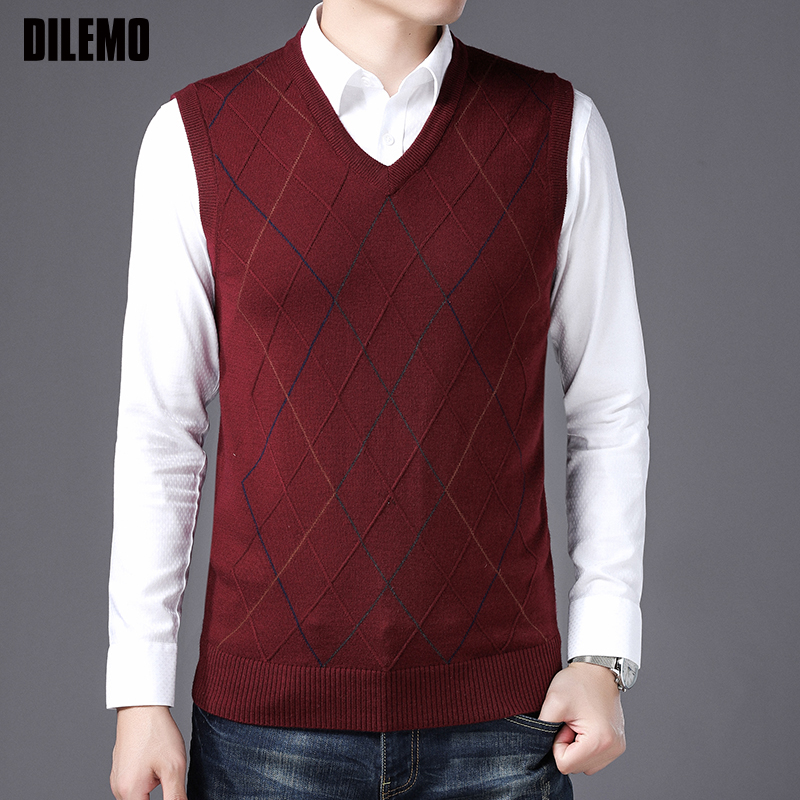 New Fashion Brand Vest Sweater For Mens Pullovers Slim Fit Jumpers Knitwear Sleeveless Winter Korean Style Casual Mens Clothes