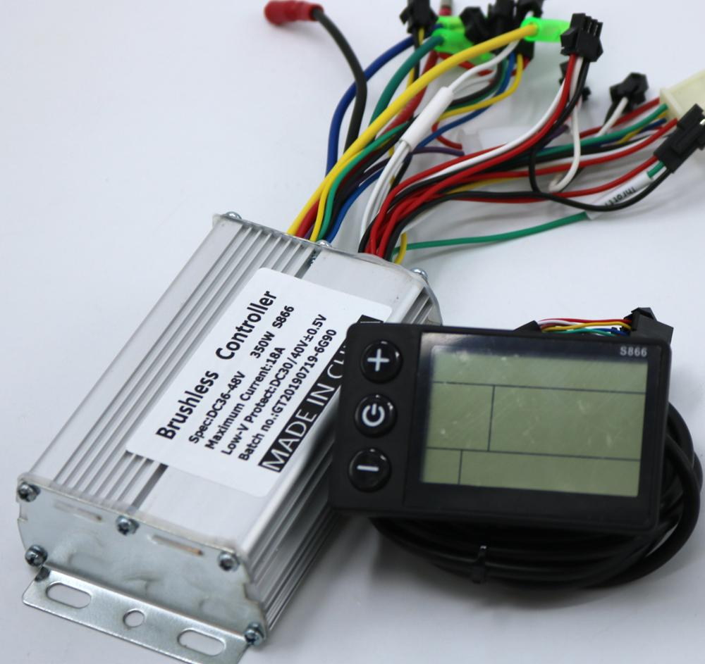 GREENTIME 36V 48V 60V 350W 18A Motor Controller E-bike Brushless Speed Controller And S866 LCD Display