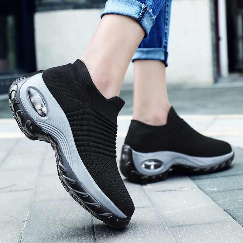 Phụ nữ Đi Bộ, Chạy Bộ Lưới Thời Trang Nền Tảng Slip-On Sneaker Đệm Không Khí Phòng Tập Nhảy Hiện Đại cho Nam