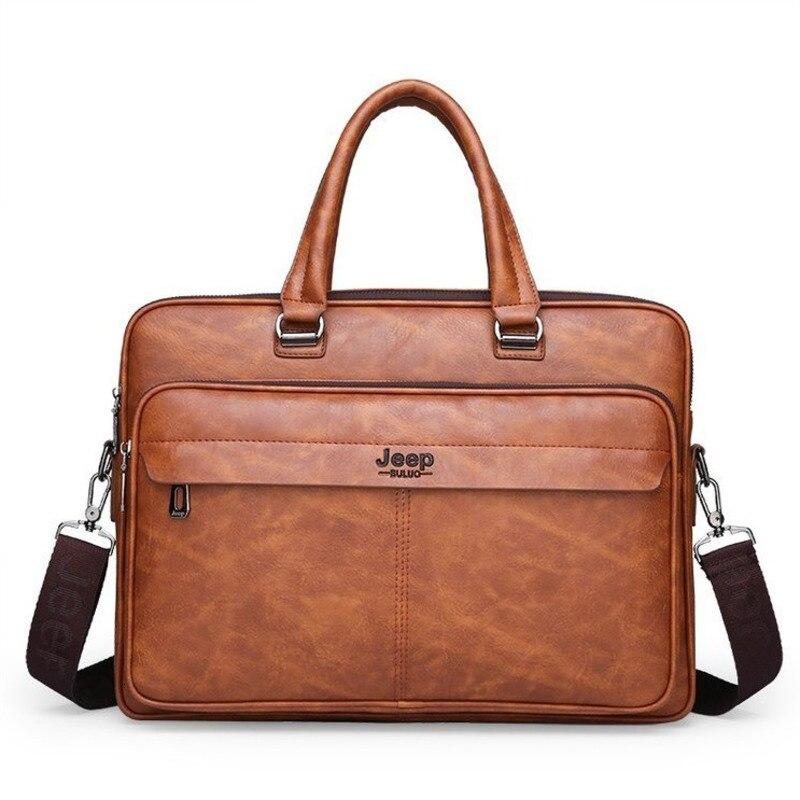 Men Messenger Computer Bag Man 14-inch Leather Laptop Briefcase Handbag Single Shoulder Bolso Bags Bandolera Hombre Sac Homme