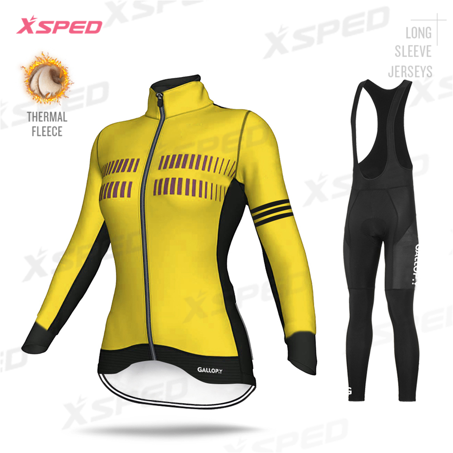 New Women Pro Cycling Clothing Winter Long Sleeve Jersey Set Thermal FleeceTights Suit MTB Female Bicycle Clothes Casual Wear|Cycling Sets| |  - title=