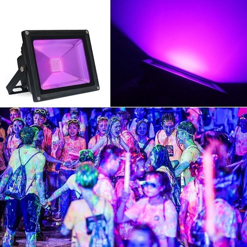 Halloween 2 Pack 50W 395NM UV Curing Light LED Blacklight Flood Light with UK Plug LED Black Light for Parties Aquarium Fishing