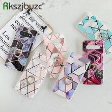 Geometrische Marmor Rosa Blume Telefon Fall Für Samsung Galaxy A51 A71 Hinweis 10 Pro S20 S10 Plus A10S A20S Weichen ring Stehen Zurück Abdeckung