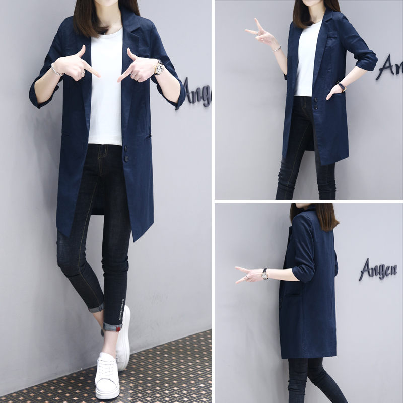 Solid Color Cotton and Linen Blazer Women 2020 Spring Fall New Fashion Slim 3/4 Sleeve Thin Section Long Female Suit Jacket <font><b>R307</b></font> image