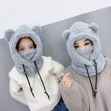 Cachecol máscara chapéu para mulheres meninas 3 em 1 lã inverno super quente plus com capuz urso bonito czapka zimowa gorro 2021 designer