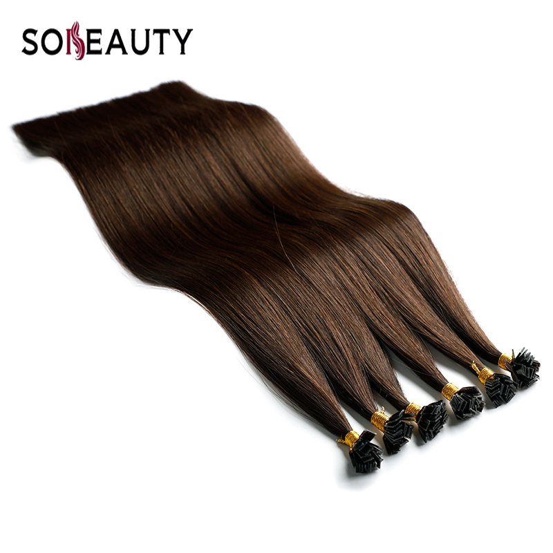 Sobeauty  Remy Hair Flat Tip Hair Extension Fusion Keratin Hair Human Hair Extensions Brailian Silky Straight Hair Color 2#