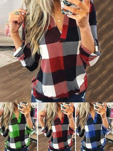 Blouse Tops Plus-Size Shirts V-Neck Lady Plaid J26 Business And Sexy Autumn