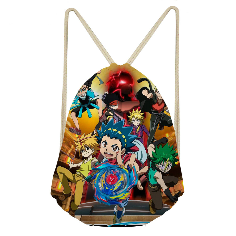 ThiKin Beyblade Burst Backpack Teenagers Student School Bags Travel Shoulder Bag Anime Games Light Drawstring Bag Custom