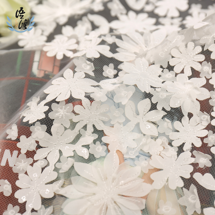 5 Yards White Polyester Gauze Laser Embroidery Fabric Three-dimensional Mesh Embroidery Wedding Dress Skirt Embroidery Fabric