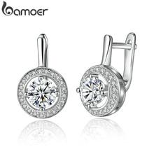 BAMOER Новое поступление серебряный цвет круглой формы полный любви Висячие серьги для женщин модные ювелирные изделия YIE106