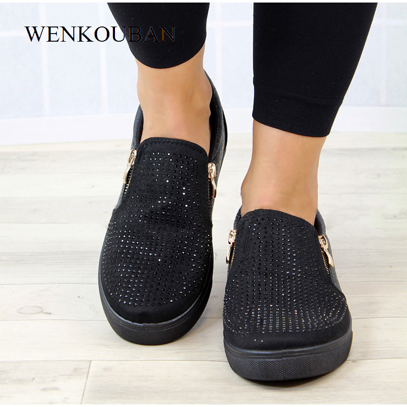 Image 4 - Platform Shoes Women Crystal Slip On Flat Loafers Female Wedge Shoes For Women Mocassin Zipper Glitter Flats Sapato FemininoWomens Flats   -