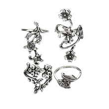 New  2019 Vintage Antique Silver Plant Ring Set Flower Leaf Carving Rings for Women Knuckle Rings Jewelry Statement tocona vintage antique silver big black rhinestone ring ethnic flower carving ring set steampunk knuckle ring women jewelry 4174