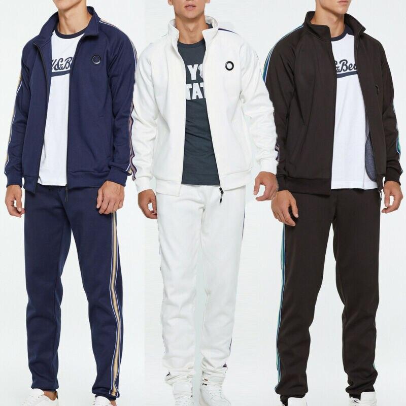 2019 Fashion Men's Tracksuit Gym Sports Jogging Running Athletic Casual Coat+Pants Set