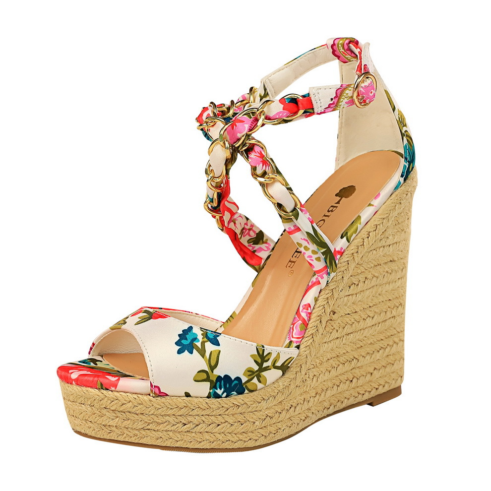 Wholesale Top Quality Summer Sandals Woman Print Platform Wedge High Heels Party Cross-strap Women Shoes 2020 NEW
