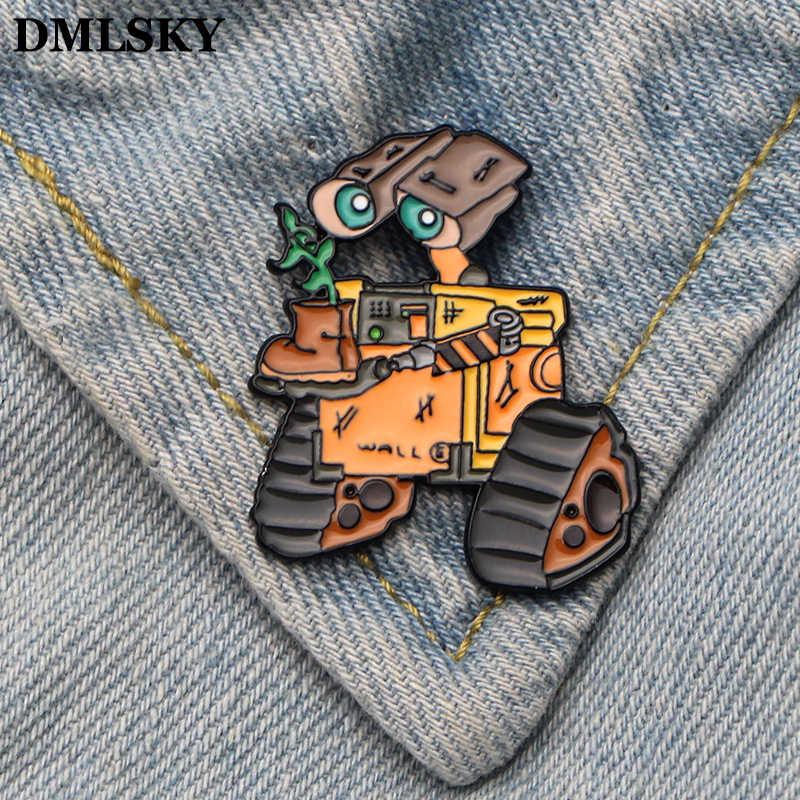 Dmlsky Kartun Robot Enamel dan Bros Kerah Pin Tas Ransel Lencana Pakaian Dekorasi Hadiah M3370
