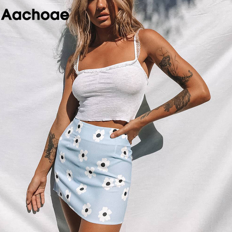 Aachoae 2020 Summer Floral Printed Sexy Mini Skirt Women Blue Beach A Line Skirts Back Zipper Bodycon Skirt Lady Faldas Cortas