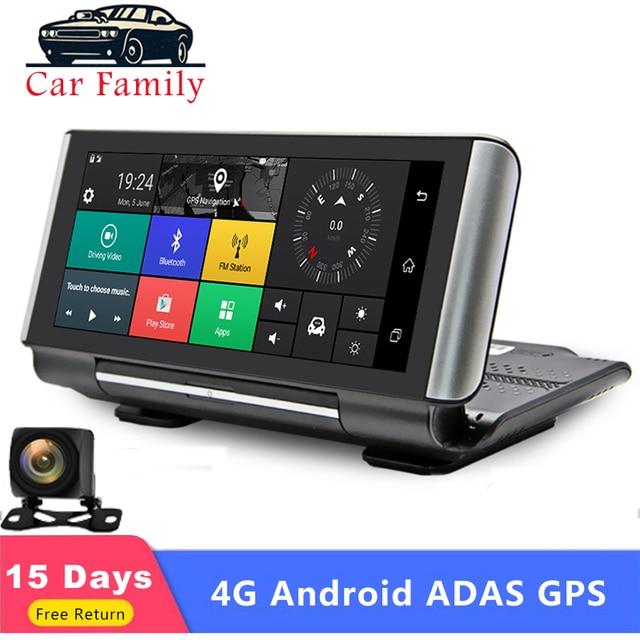 Familia de coches 7 pulgadas 4G Android navegación GPS ADAS FHD 1080P cámara de salpicadero de coche Auto grabadora de vídeo DVR WIFI Monitor remoto g-sensor