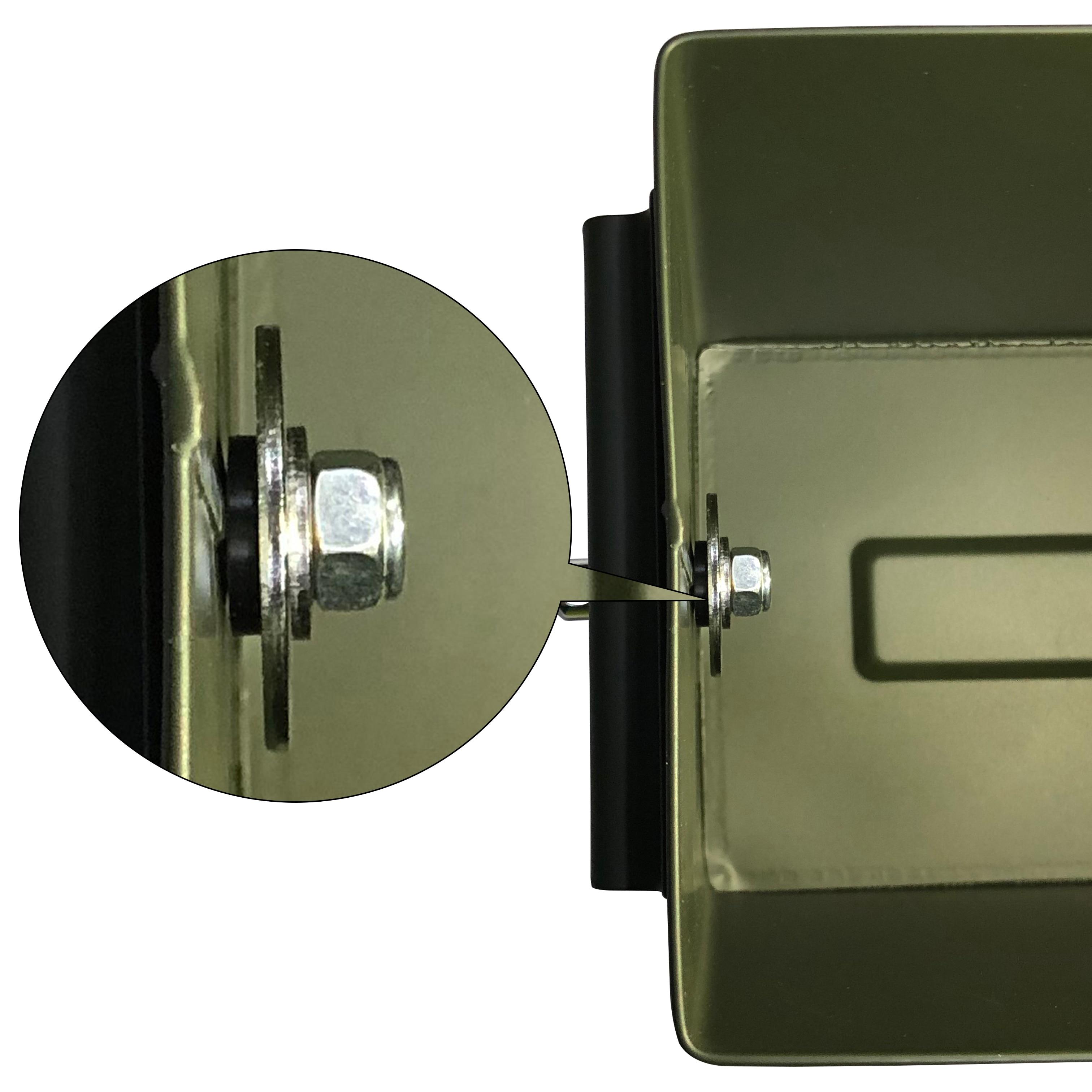 50 Cal Metal M2A1 caja de municiones estilo militar y militar caja de acero munición de pistola caja de almacenamiento caja de soporte pesado táctico caja de balas bloqueable - 5