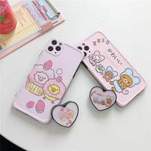 For iphone 11 Pro Max cute Phone holder cartoon Rilakkuma fashion soft Phone Case for iphone 7 7plus 8 8plus X XR XS MAX cover(China)