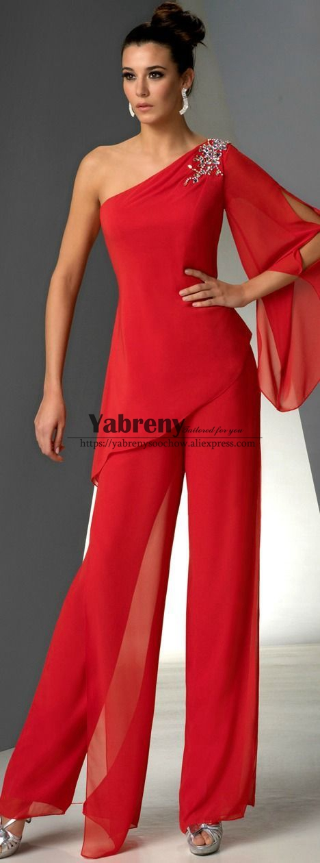 One Shoulder Mother Of The Bride Pant Suits Dresses Red Chiffon Pants Outfit